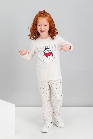 Roly Poly  Winter Snowman Mavimelanj Kız Çocuk Pijama Takımı Krem